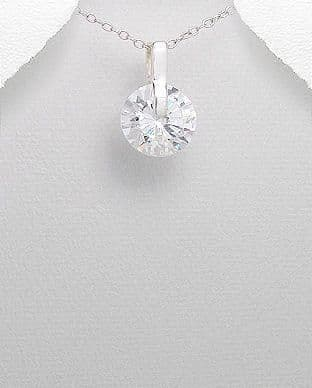 925 Sterling Silver Stone Set Circle Pendant Decorated with CZ Simulated Diamond